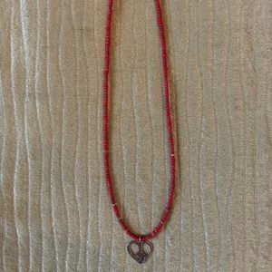 Silpada red bead necklace w Silver heart